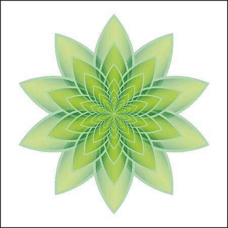 zenlike: Green lotus flower on a white background. Isolated object, vector illustration Illustration