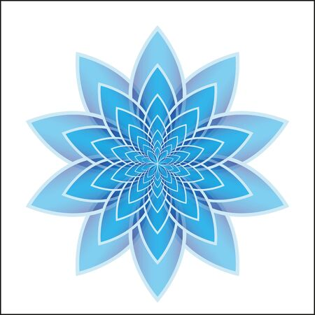 blue and white: Blue lotus flower on a white background. Isolated object, vector illustration