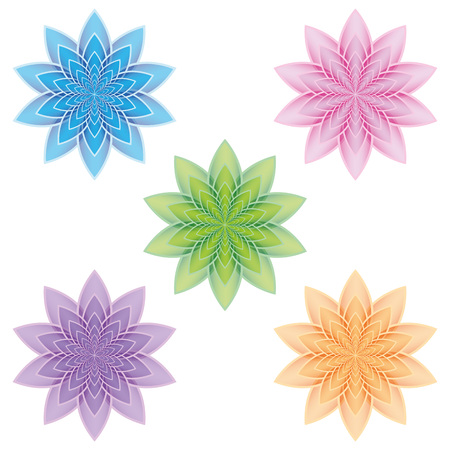 izole nesneleri: Set of five lotus flowers. Isolated objects on a white background. Vector. Can be used as icons Çizim