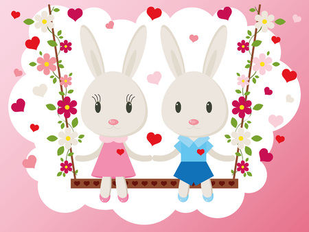 day valentine: Two cute bunny on a swing. Holiday greeting card, vector Illustration