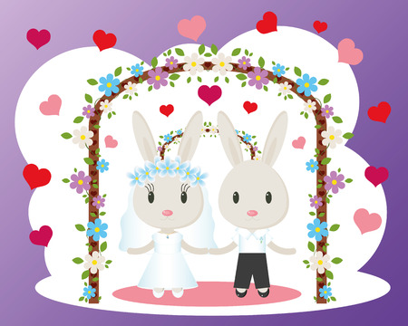 two animals: Two cute bunny bride and groom.