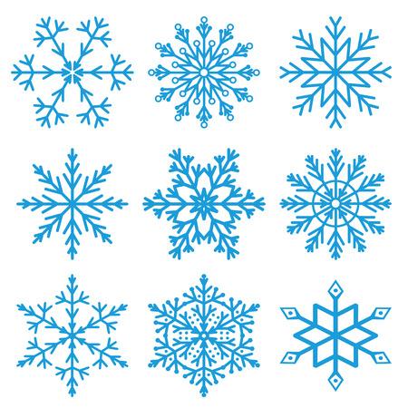 izole nesneleri: Set of nine blue snowflakes on a white background. Vector, isolated objects