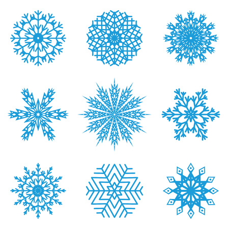 isolated objects: Set of nine blue snowflakes on a white background. Vector, isolated objects