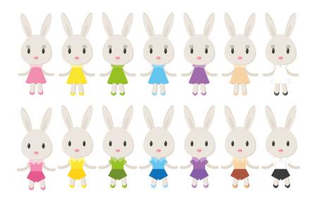 izole nesneleri: Set elegant cute bunnies. Vector, isolated objects on a white background