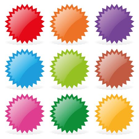 izole nesneleri: Set of nine star-shaped stickers. Isolated objects on a white background, vector illustration