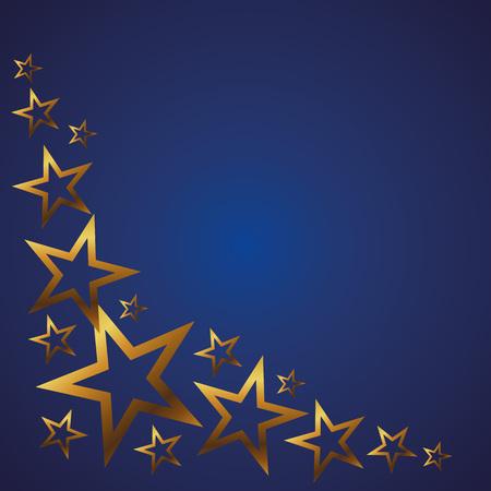 Gold stars on a blue background. Background, vector illustration, frame, card 矢量图像