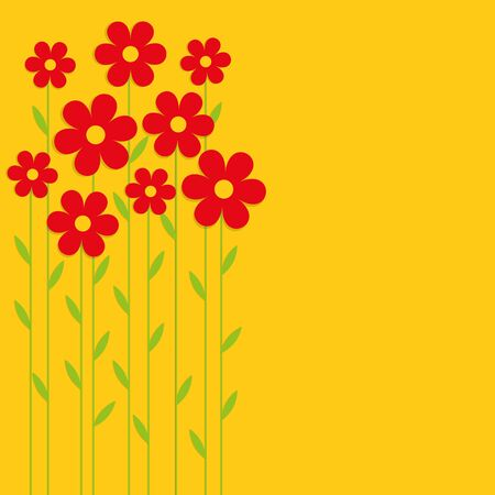 Red spring flowers on a yellow background. Card, background, vector