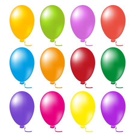 isolated objects: Set balloons. Isolated objects on a white background, vector