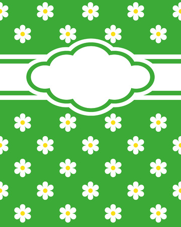 background baby: Elegant card vector, advertising or wedding invitations. Green background with daisies, white space, you can write your text