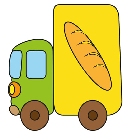 elementary age: Childrens drawing bread van. Vector, isolated object on a white background
