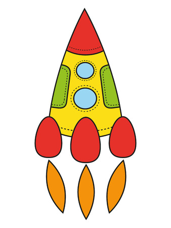 elementary age: Childrens drawing a rocket. Vector, isolated object on a white background Illustration