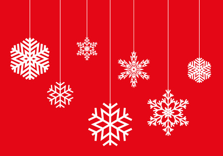 snow drifts: Winter pattern of hanging snowflakes on a red background. Vector, isolated objects