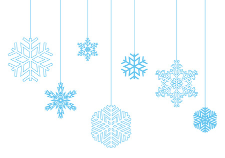 blizzards: Winter pattern of hanging snowflakes on a white background. Vector, isolated objects