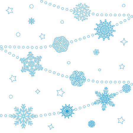 snow drifts: Winter background with snowflakes on a white background. Vector Illustration