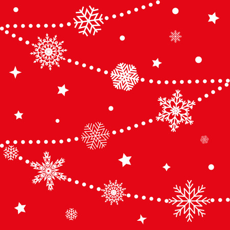 snow drifts: Winter background with snowflakes on a red background. Vector Illustration