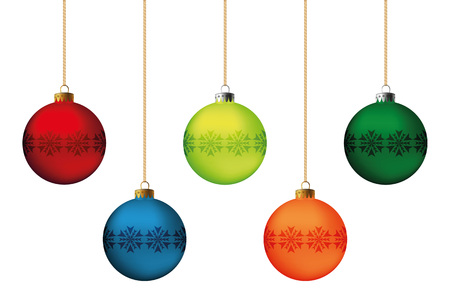 color balls: Set of festive Christmas decorations for the Christmas tree. Isolated objects, vector, illustration