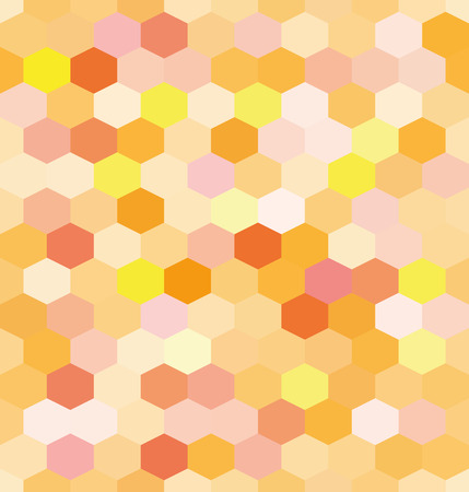 mosaic background: Abstract background orange hexagons honeycomb. Vector, seamless repeating pattern, mosaic