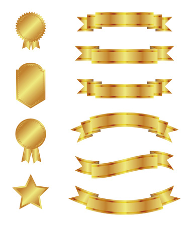 isolated objects: Set of golden ribbons and badges. Vector, isolated objects on a white background Illustration