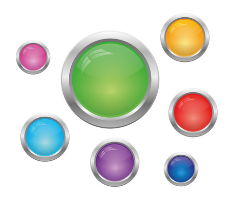 blue buttons: Set of round glass multicolored buttons. Vector, isolated objects on a white background Illustration