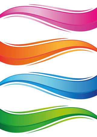 Waves of colorful banners set. Isolated objects on a white background, vector illustration Vectores