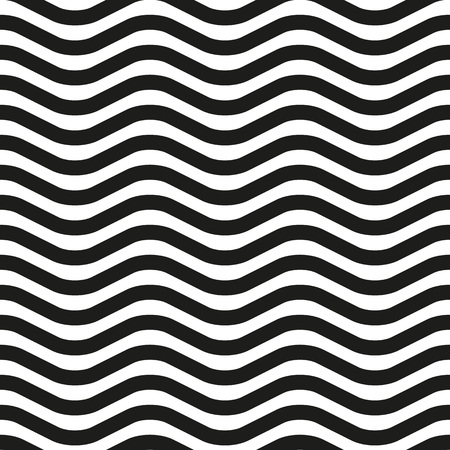 Background of black and white wavy lines, color zebra. Seamless pattern, vector illustration