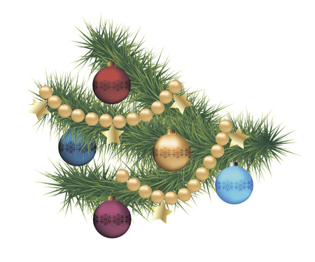 pine tree branch: Christmas pine tree branch decorated with Christmas balls. Isolated object on a white background, illustration