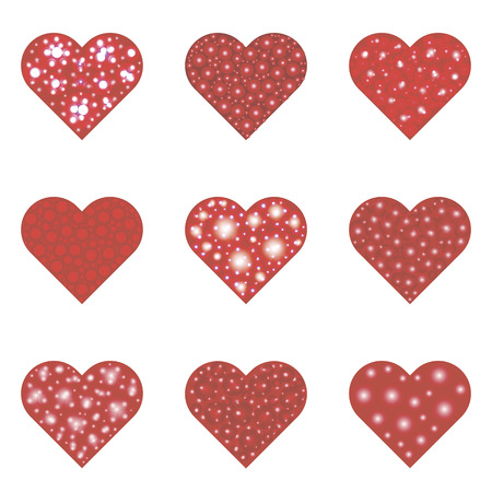 Set of nine red hearts. Vector illustration, isolated objects on a white background