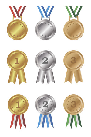 isolated objects: Set of gold, silver and bronze medals and awards. Isolated objects on a white background, vector illustration
