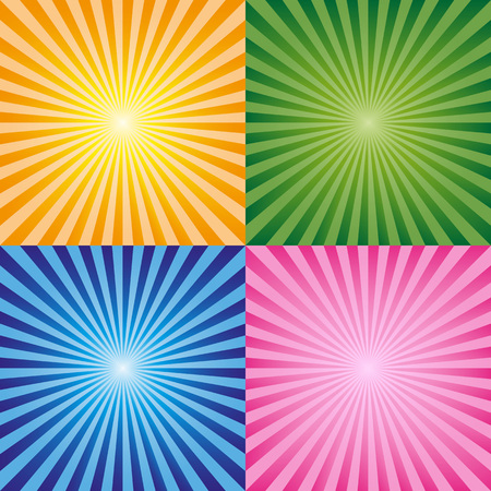 Sun rays  collection. Different bright colors, Illustration