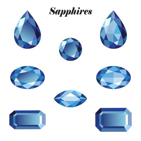 sapphires: Sapphires set. Isolated objects on a white background, vector illustration