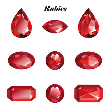 Rubies set. Isolated objects on a white background, vector illustration