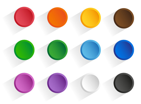 Set round multi-colored buttons with shadow. Vector, isolated objects on a white background Illustration