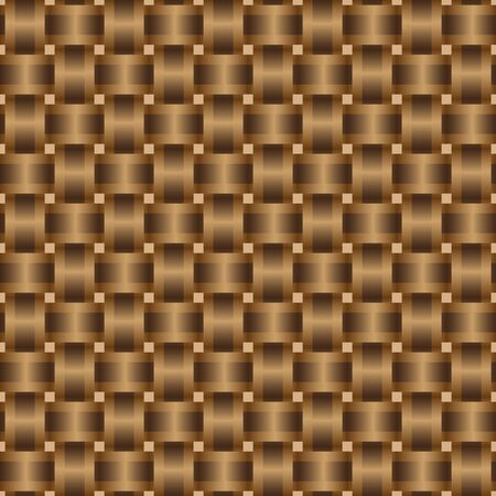 Abstract background of brown ribbons intertwined. Seamless braided pattern, vector illustration
