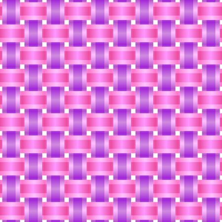 interweaving: Abstract background of interwoven pink and purple ribbons. Seamless network, vector illustration