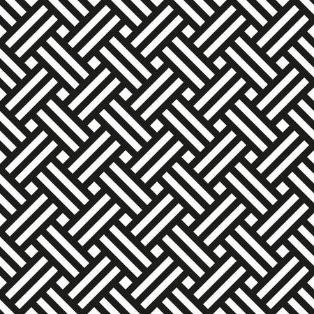 Background Japanese tatami mat. Seamless black and white pattern, vector illustration