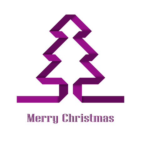 Decorative Christmas tree of purple paper tape. Isolated object on white background, vector illustration. Christmas card