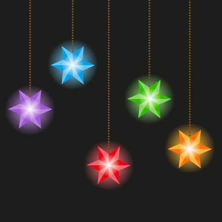 a set of christmas lights a garland of multicolored stars on a black background