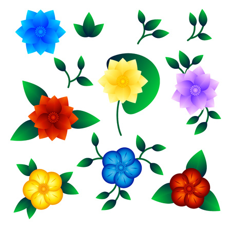 Set of multicolored exotic flowers. Isolated objects on white background, vector illustration