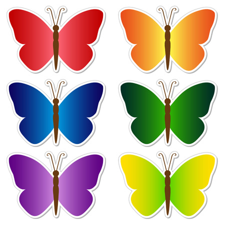 Set of multi-colored butterflies stickers. Isolated objects on white background, vector illustration