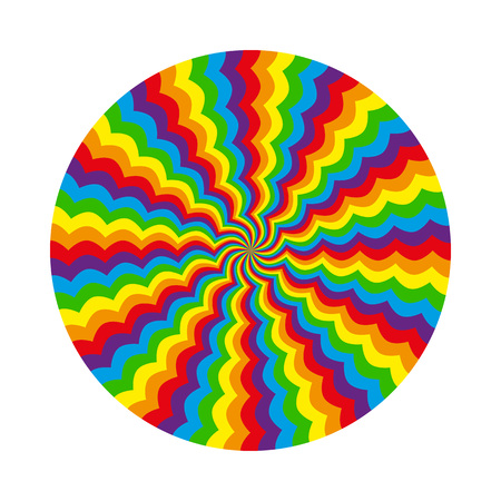 Abstract multicolored circular pattern wavy line rainbow psychedelic hypnosis. Isolated object on a white background, vector illustration
