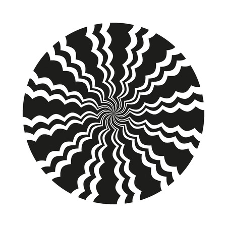 Abstract black and white monochrome circular wavy line pattern. Isolated object on a white background, vector illustration