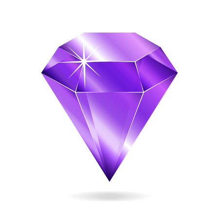 Amethyst gemstone. Isolated object on a white background, vector illustration