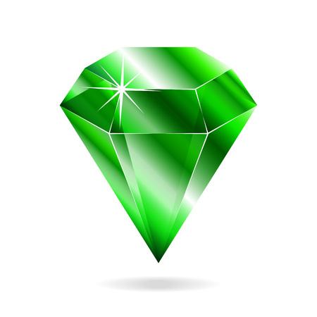 Emerald gemstone. Isolated object on a white background, vector illustration