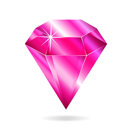 Pink gemstone. Isolated object on a white background, vector illustration Illustration