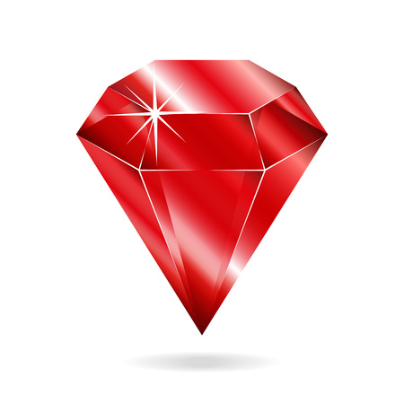 Ruby gemstone. Isolated object on a white background, vector illustration 矢量图像