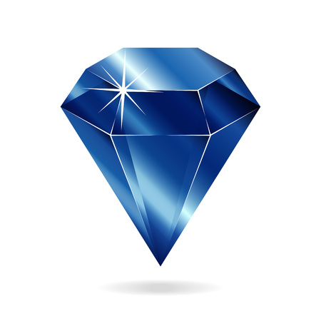 Sapphire gemstone. Isolated object on a white background, vector illustration