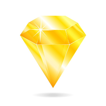 Topaz gemstone. Isolated object on a white background, vector illustration