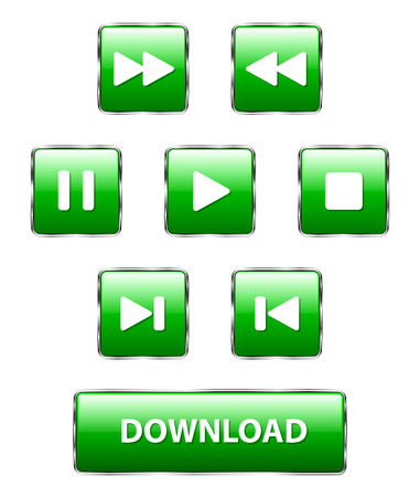 Set of square glass green buttons on a white background. Isolated objects, vector illustration 矢量图像