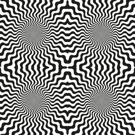 Abstract background circular patterns wavy line psychedelic hypnosis. Seamless pattern, vector illustration Vektorové ilustrace