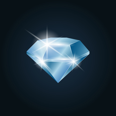 Diamond gemstone shining. Isolated object on a dark background, vector illustration 矢量图像